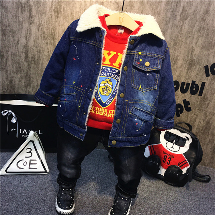 3PCS WLG boys winter clothing set kids velvet thick jacket red cartoon hoodie and jean set baby boy warm casual clothes