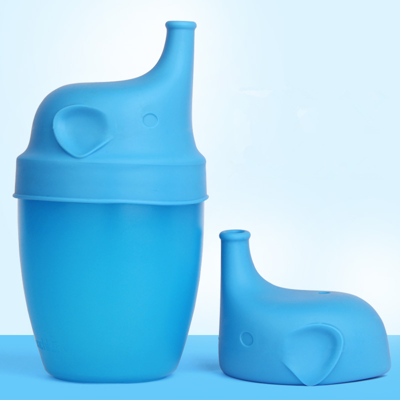 Silica Gel Leak-Proof Elephant-Shaped Training Sippy Cup Sub-Infant Anti-Overflow Drink Water Cup Wholesale New Style Cup Lid Di
