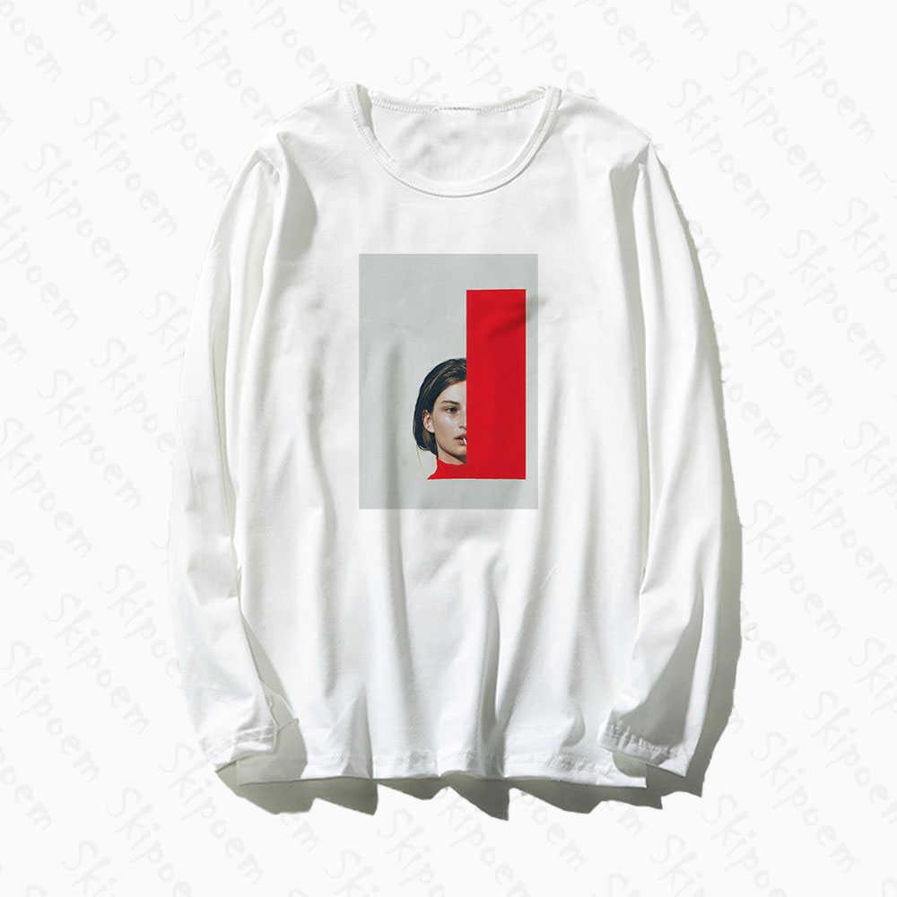 Estilo europeu retro criativo tshirt das mulheres do vintage tumblr harajuku punk algodão plus size manga longa camiseta femme topo t