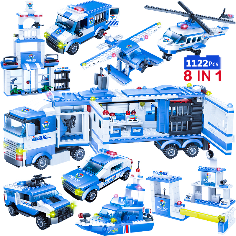 1122pcs 8IN1 SWAT City Police Truck Car Building Blocks Compatible With  City Police Station Bricks Toys For Boys