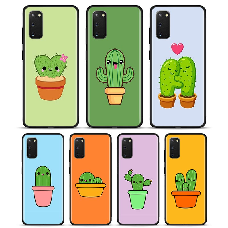 Phone Case For Samsung S21 Ultra S20 FE S8 S9 S10 S20 Plus S21+ S10e S7 Edge Coque Soft TPU Back Cover Cute Cactus Potted Plant