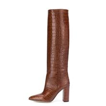 Женские сапоги до колена из искусственной кожи на квадратном каблуке; Женские Классические высокие сапоги с острым носком на высоком каблуке в западном стиле; Цвет черный, красный; зимние сапоги
