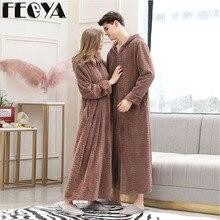 Lovers Couple Coral Fleece Robe Winter Thick Warm Women Men Nightgown Bath Gown Female Large Size Long Hooded Sleepwear Nightwea