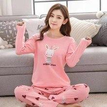 Woman Homewear Clothes Autumn Long Sleeve Kawaii Sleepwear Pajamas Sets