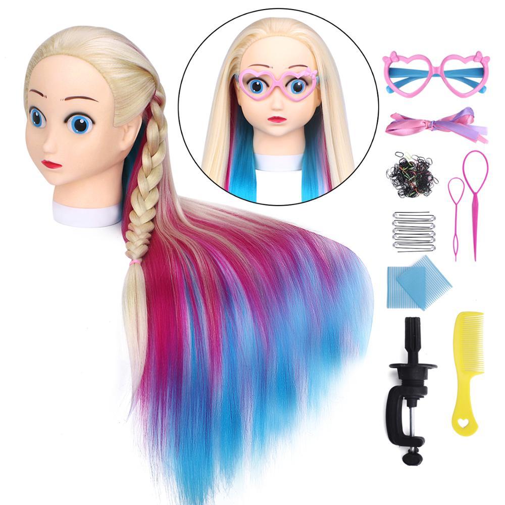 60 см, мультяшный Профессиональный манекен для волос, красочный парик для укладки, манекен для парикмахерской, тренировочный манекен, голова...