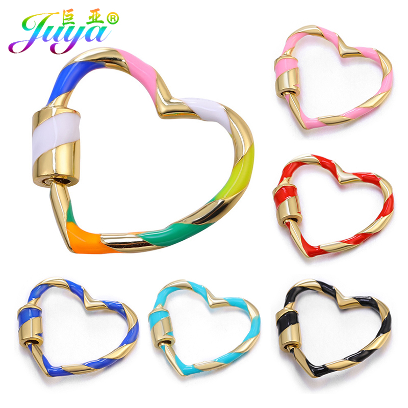 Juya Handmade Enamel Love Heart Pendant Accessories Supplies Creative Spiral Screw Clasps Fastenings For DIY Fine Jewelry Making