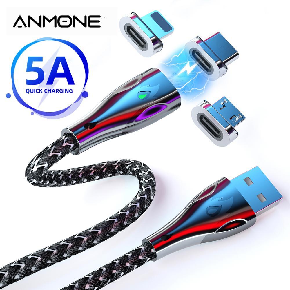 Fio de carregamento rápido da liga de zinco 5a para o telefone móvel 1m/2m tipo liga de zinco c cabo magnético micro cabo do telefone do ímã de usb