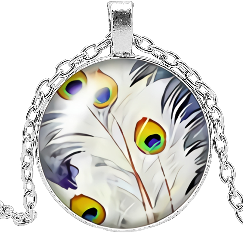 2019 New Hot Super Beautiful Peacock Feather Pattern Series Glass Convex Round Pendant Necklace Popular Jewelry Gift in Pendant Necklaces from Jewelry Accessories