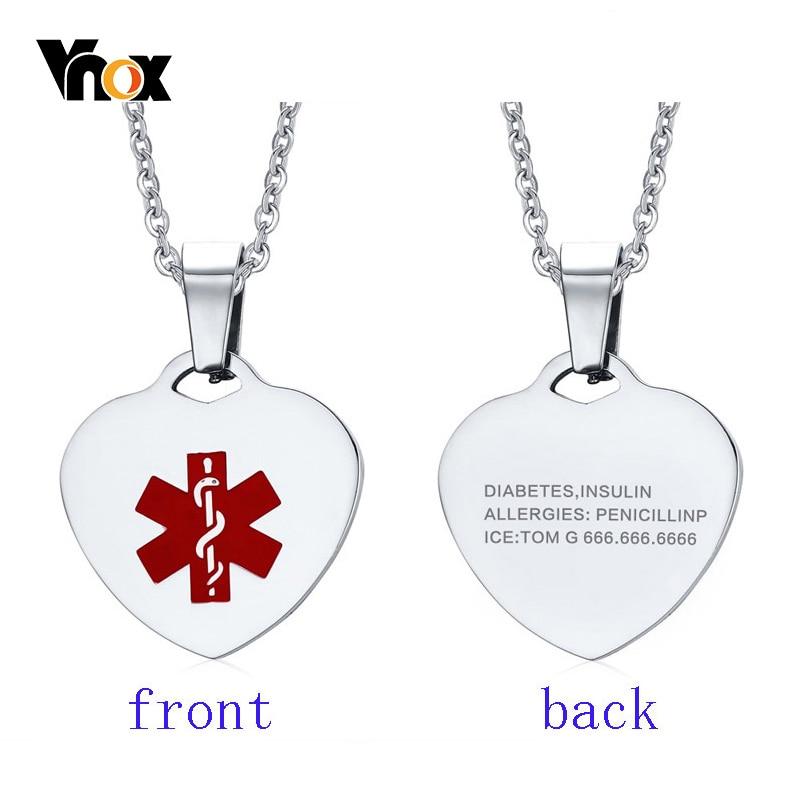 Vnox-Colgante personalizado con forma de corazón para mujer, collar de alerta médica, cadena de 20 pulgadas
