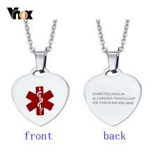 Vnox özel Engrave kalp şekli tıbbi uyarı kimliği kolye kolye kadınlar için 20 inç zincir