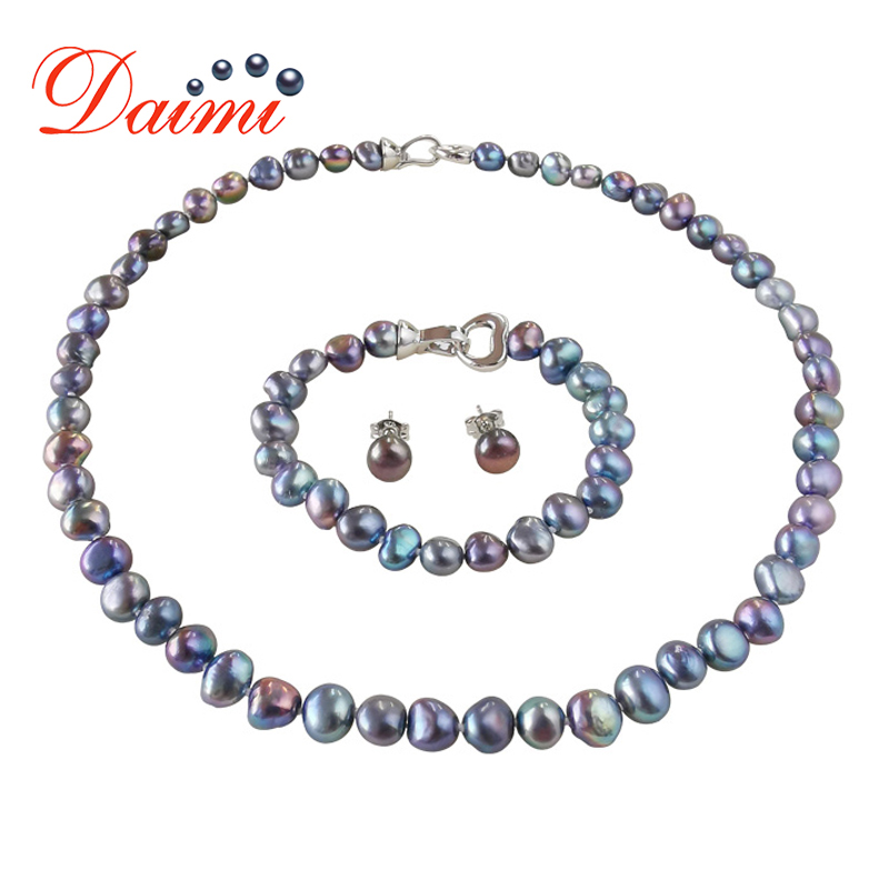 DMSFP100 Baroque Pearl Jewelry Sets Silver 925 Jewelry Pearl Sets Necklace/Bracelet/Earrings For Women