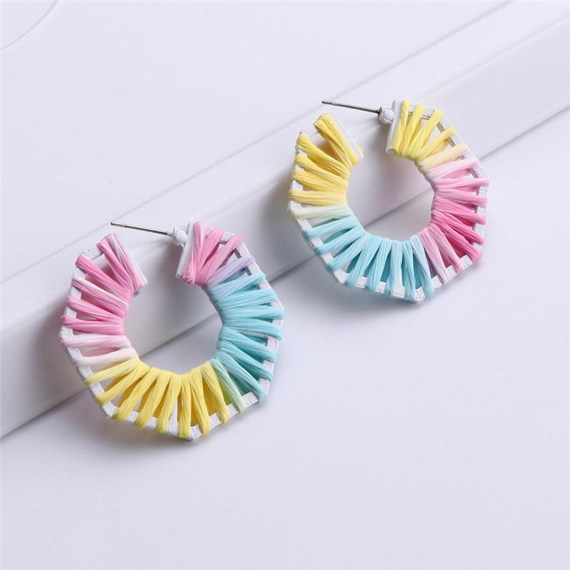 Creative Colorful Braided Geometric Handmade Raffia Earrings Fashion Women 39 s Accessories Earrings Women Tassel Earrings in Drop Earrings from Jewelry amp Accessories