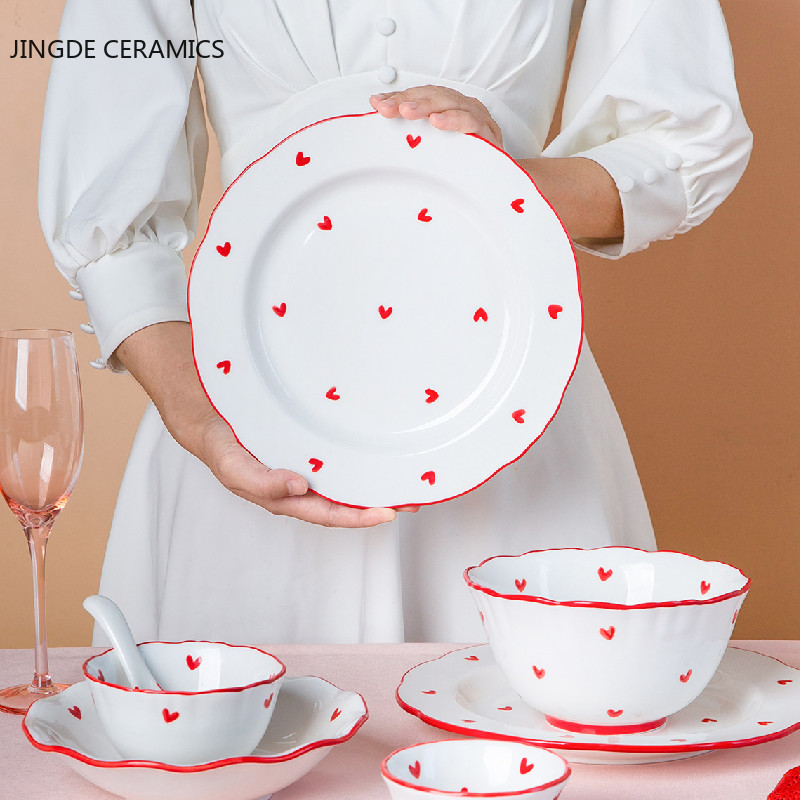 Nordic Style Creativity Cute Red Heart-shaped Pattern Ceramic Plate Dish Tableware Home Salad Cake Dish Rice Noodles Soup Bowl