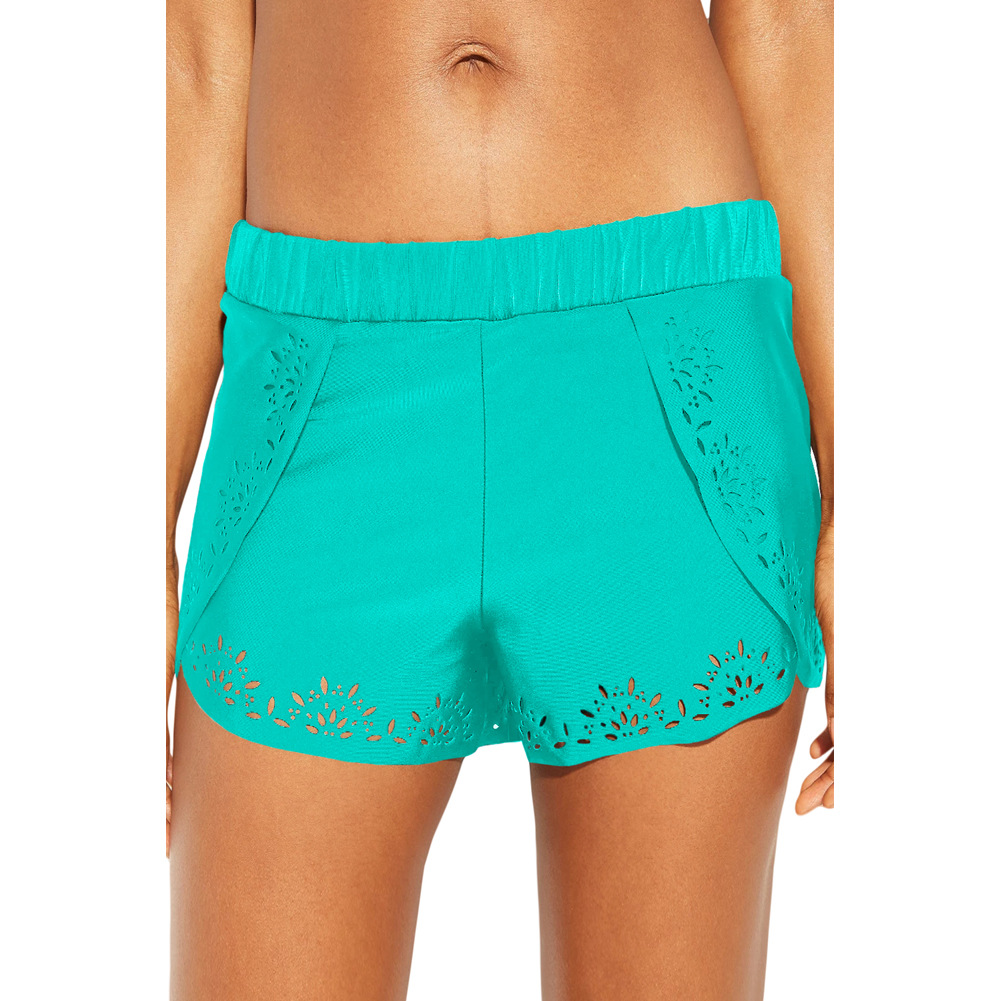 Europe And America Solid Color Boxers Women's Elastic High-waisted Hollow Out Lace Four Corners Swimming Trunks Beach Shorts