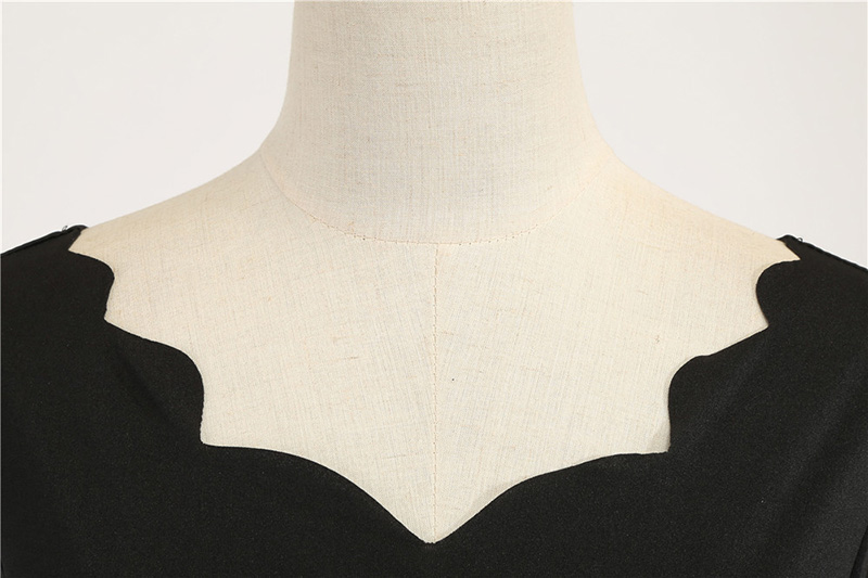 Women Long Sleeve Winter Vintage Dresses Sexy Black Music Note Print V-neck Rockabilly Pin up Party Dress Vestidos Plus size 584