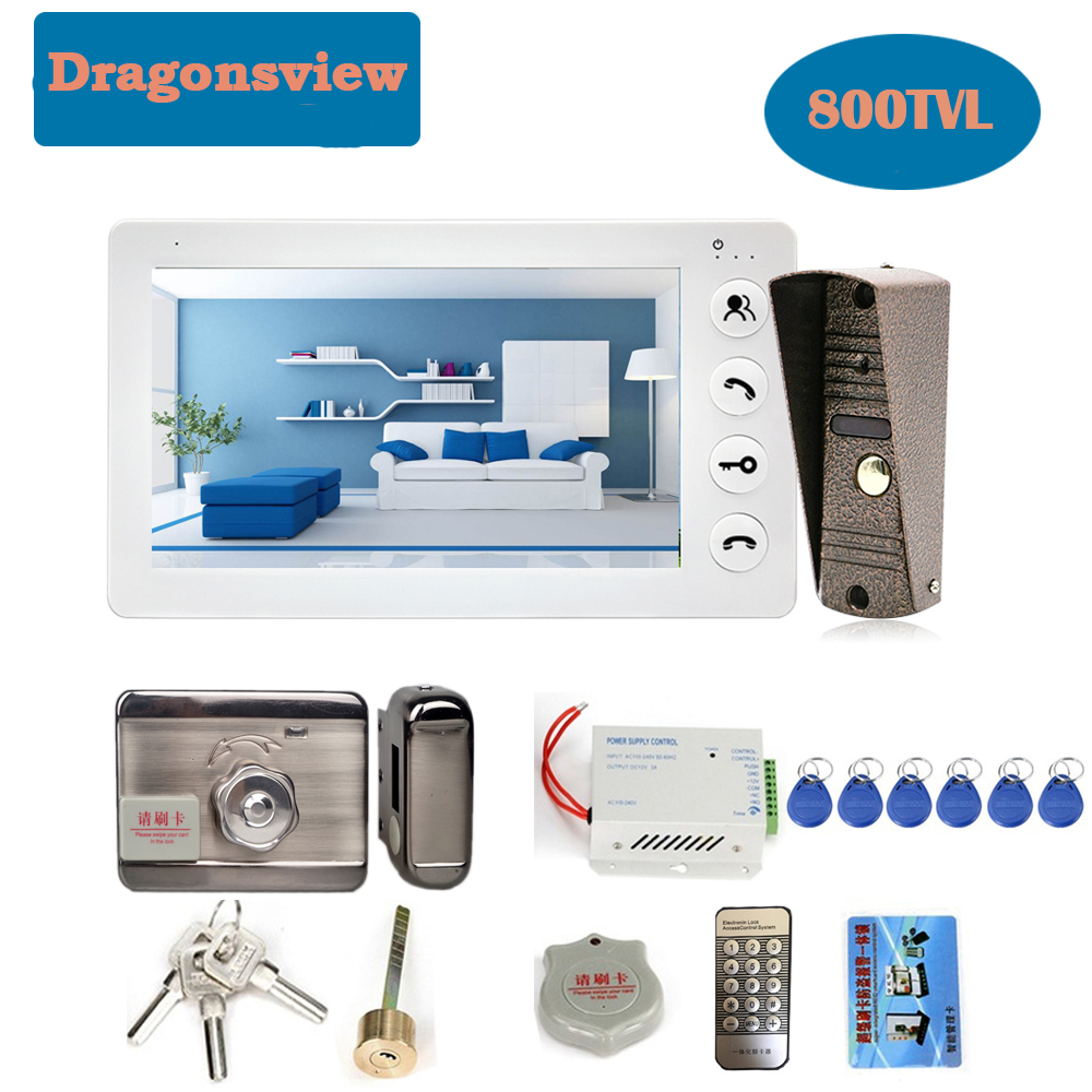 Dragonsvie  Video Intercom With Lock 7 Inch Waterproof Doorbell Camera  Video Door Phone Door Access Control System Unlock Night