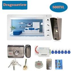Dragonsvie wideodomofon z zamkiem 7 Cal wodoodporny dzwonek do drzwi kamera wideo System kontroli dostępu do drzwi odblokuj noc