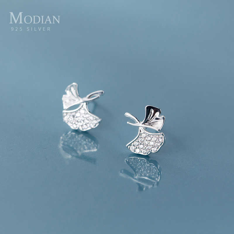 Pendientes Modian Fashion Morning Glory Flower Clear Zircon Stud para mujeres encanto clásico 925 plata esterlina joyería fina regalo