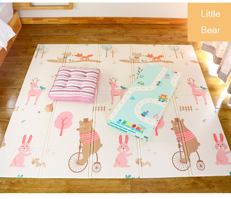 H23b0d4511baa4017a8cb740d92b55783J XPE Folding Baby Play Mat 1cm Thick Crawling Toys for Children's Carpet Climbing Gyme Game Road Pad Living Room Home Kids Rug