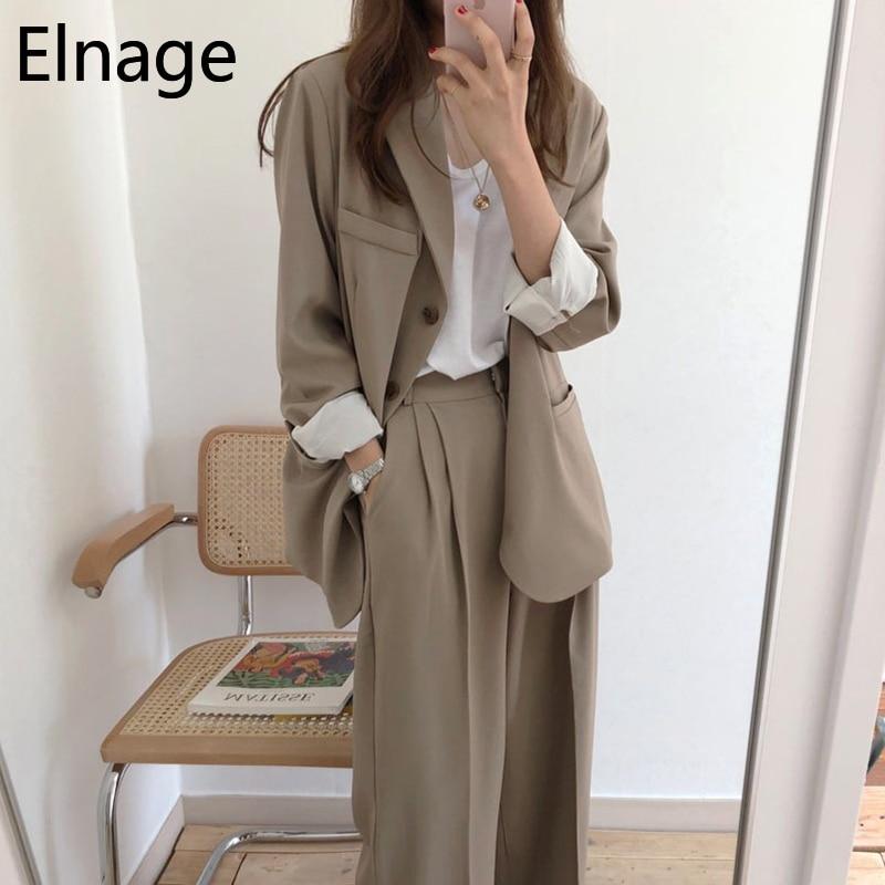 2 Piece Set Women Korean Spring Casual BF Solid Woman Suit High Waist Wide Leg Trousers Traje Conjuntos Garnitur Damski 5B098