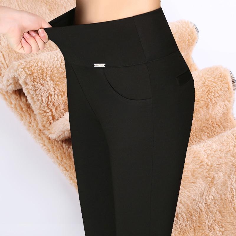Pantalones de cintura alta para mujeres pantalones de mujer pantalones de harajuku skinny invierno cálido grueso leggings talla grande de lana