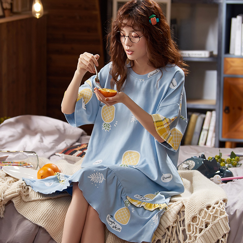 BZEL Blue Women's Nightgowns Fashion Spring Summer Nightdress Cute Cartoon Femme Homewear Plus Size Pijamas Cotton Pyjama M-XXXL