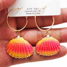 New Design Natural Shell Pendant Earrings Handmade Gold Conch Seashell Maxi Statement for Women Beach Party 2019 ZA