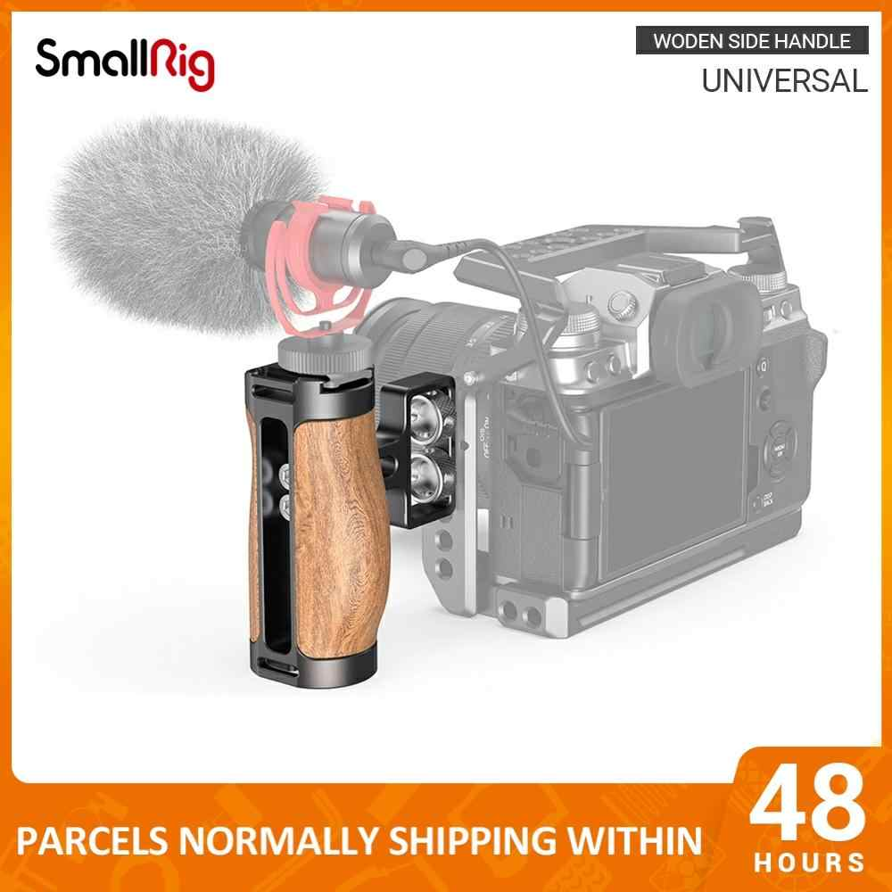 SMALLRIG Wooden Mini NATO Handle Side Handgrip for Mirrorless Digital Camera DSLR Camera Small Camera Cage with Cold Shoe Mount Built-in Wrench 2915 Up and Down Adjustable