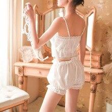 Женская пикантная кружевная Пижама, укороченный топ, шорты-шаровары, комплект из топа-трубы с ремешками на пуговицах, винтажный пижамный комплект из хлопка