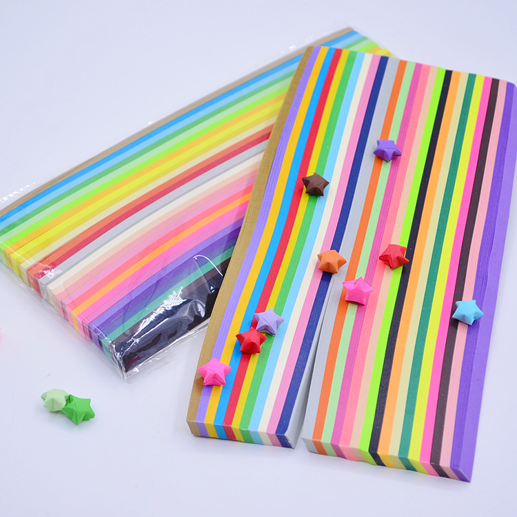 1030PCS Making Stars Craft Papers Strips Candy Color  Lucky Star Origami Children DIY Origami Craft Paper 27colors
