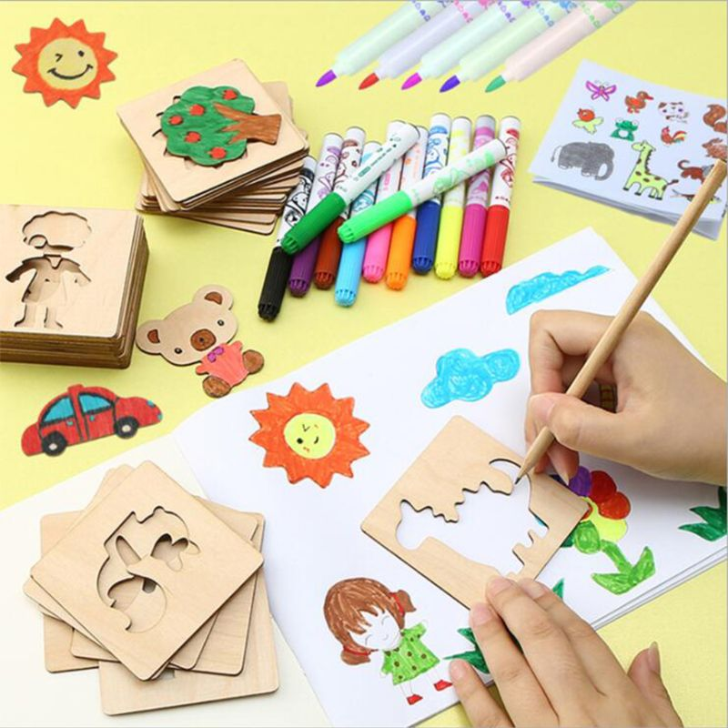 145 Pcs/Set Painting Template Baby Graffiti Color Learning Painting Tools Children DIY Handmade Wooden Toy Painting Set