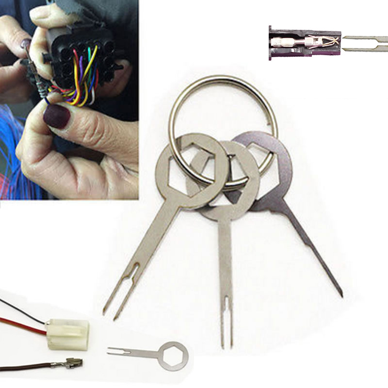 Set Car Terminal Removal Pack Stainless Steel 3pcs Wire Tool Electrical Crimp Connector Key Replacement