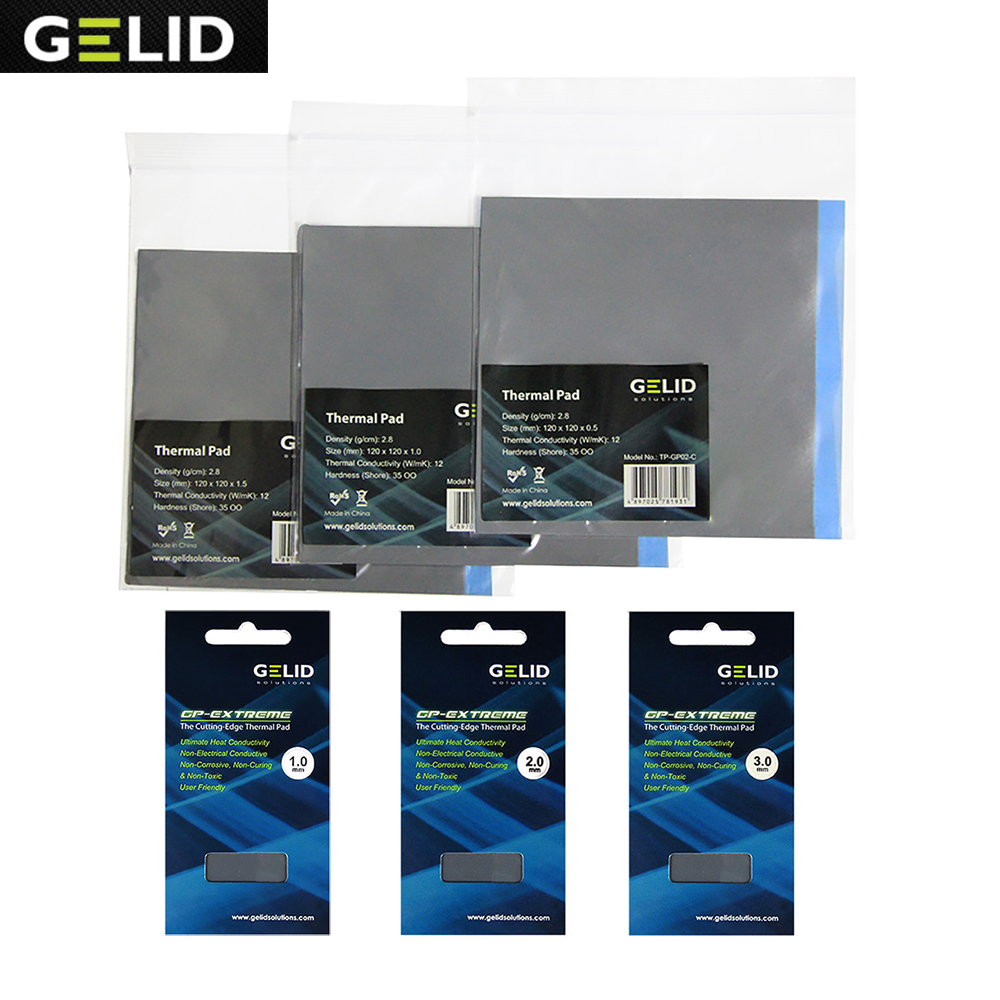 GELID 80X40 120X120 0.5 1.0 1.5 2.0 3.0mm PC CPU GPU Heatsink Cooling North and South Bridge Video card Thermal Pad 12W/mk