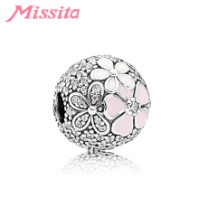 MISSITA Trendy Daisy Flower Beads fit Pandora Original Charm Bracelet DIY Jewelry Women Bracelets Accessories Gift