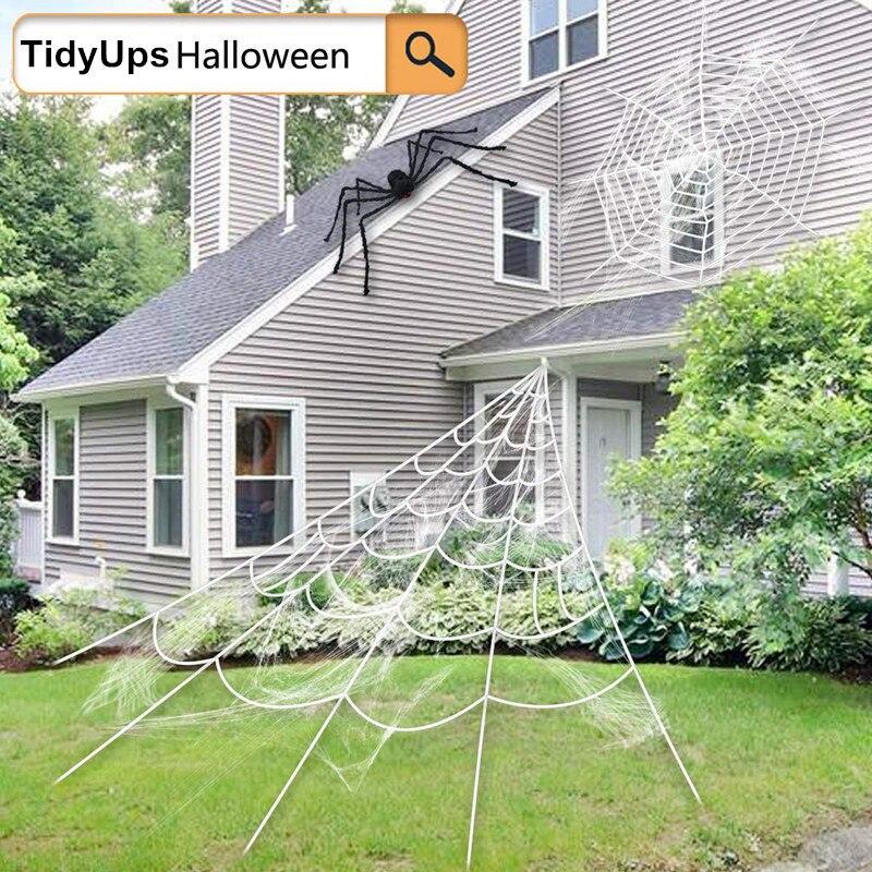 Halloween teia de aranha gigante, super estiramento cobweb com teia de aranha para decoração de halloween (5x4.8 m)