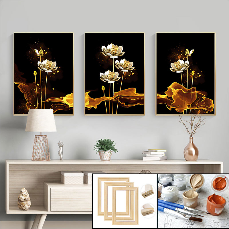 painting by numbers adwall frame DIY frame Hand painting  Wall decoration paintin still life golden flowers Hand painting Lotus-0