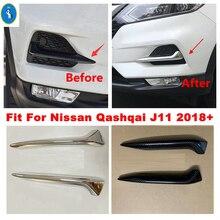 Chrom/Carbon Look Vorne Nebel Lichter Lampen Augenlid Augenbraue Stripes Abdeckung Trim Fit Für Nissan Qashqai J11 2018 2019 2020