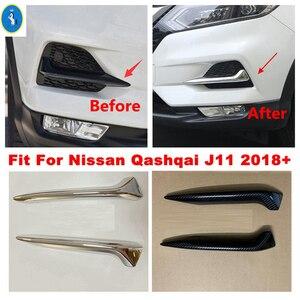 Image 1 - Chrome / Carbon Fiber Look Front Fog Lights Lamps Eyelid Eyebrow Stripes Cover Trim Fit For Nissan Qashqai J11 2018 2019 2020