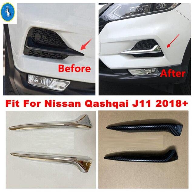 Chrome / Carbon Fiber Look Front Fog Lights Lamps Eyelid Eyebrow Stripes Cover Trim Fit For Nissan Qashqai J11 2018 2019 2020