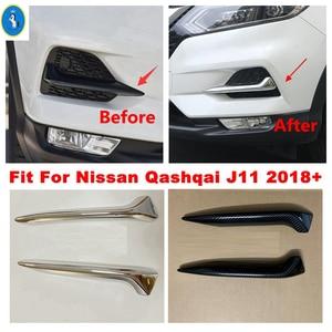 Image 1 - Chrome/fibra de carbono olhar frente nevoeiro luzes lâmpadas pálpebra sobrancelha listras capa guarnição apto para nissan qashqai j11 2018 2019 2020
