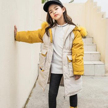 Wholesale Winter Children Hooded Down Jacket thicker warm real fur collar Girl Print Coat Modis Kids Down Jacket Outerwear Y2282