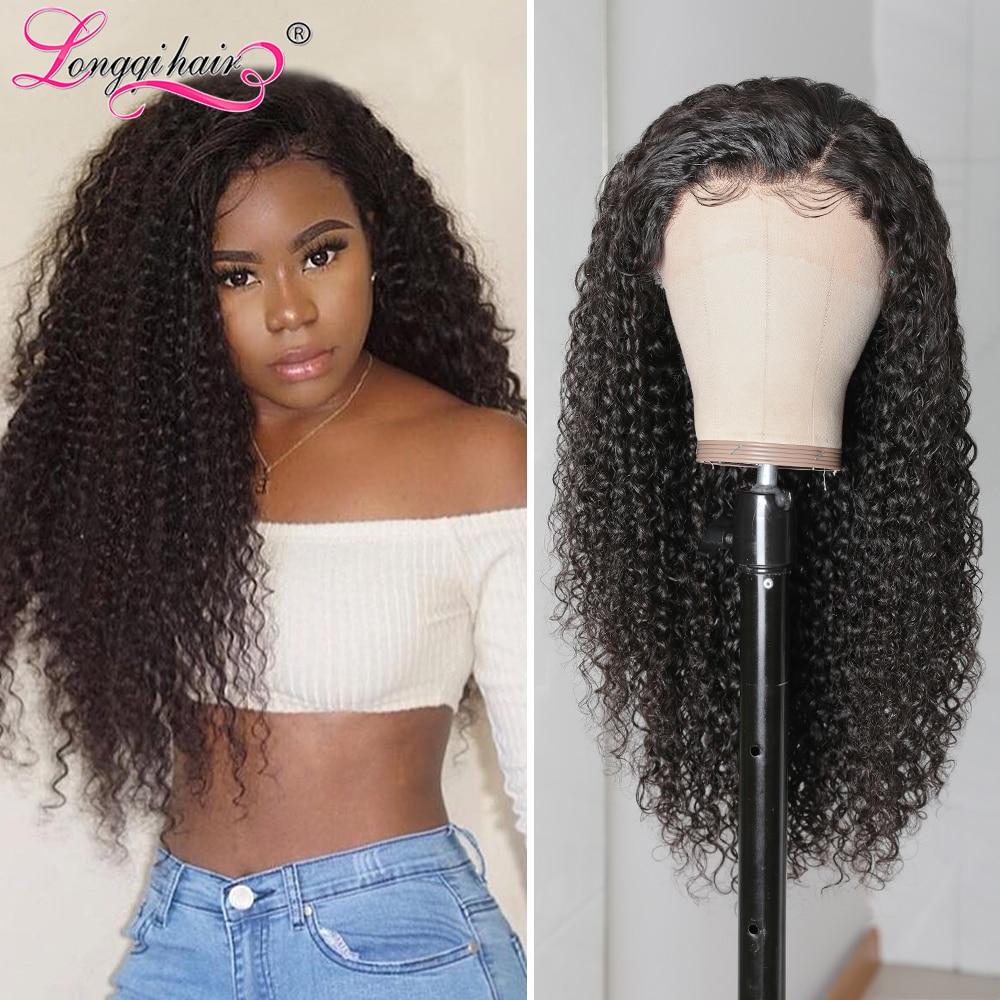 Волосы Longqi 13X4, парики из человеческих волос на сетке спереди, бразильские кудрявые человеческие волосы без повреждений, парики для женщин 10 ...