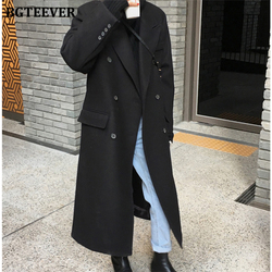 BGTEEVER Stylish Ladies Double Breasted Long Woolen Coats 2020 Winter Thicken Loose Women Blend Overcoats Black Female Outwear