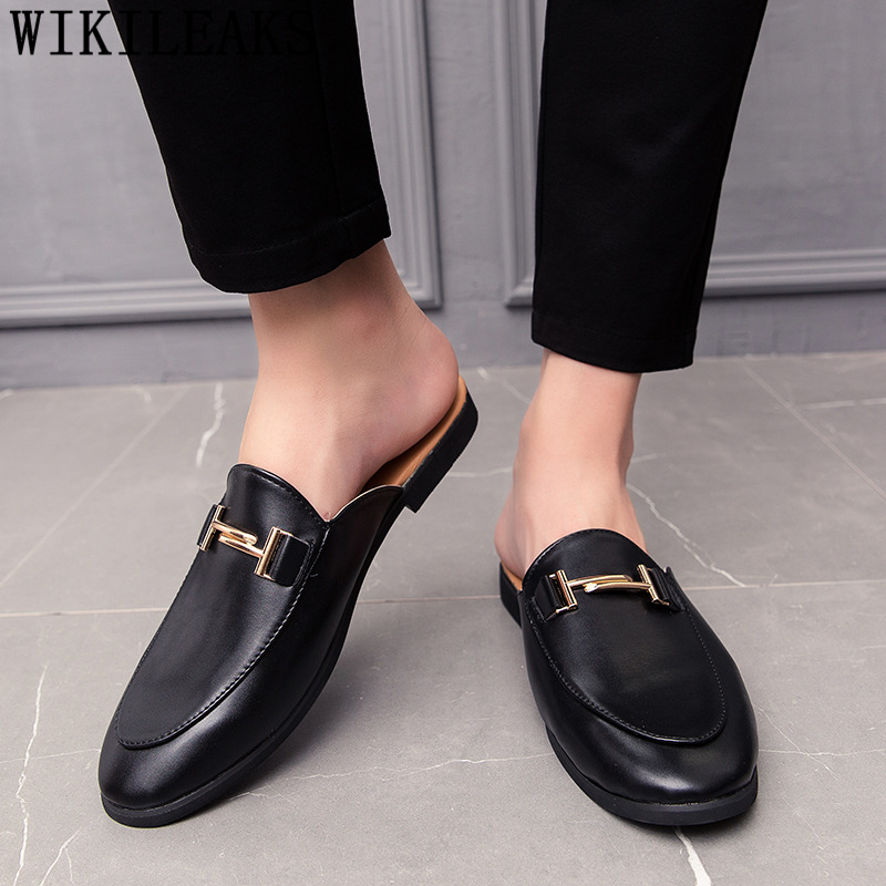 Black Half Shoes For Men Leather Shoes Men Mules Casual Shoes Men Fashion Sapato Social Masculino Mocassin Homme Chaussure 2019