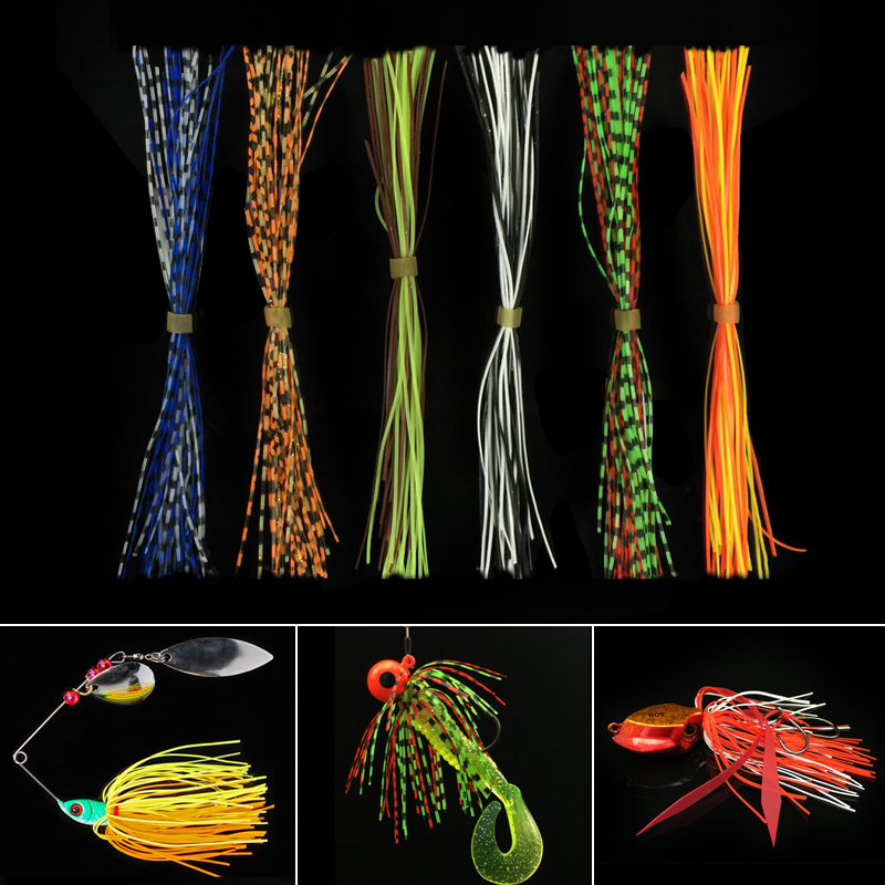 40pcs/lot 1 Bundles Mixed Color 13cm Silicone Skirts for Spinnerbait Buzzbait Rubber Jig Lures Squid Skirts Fly Tying Material