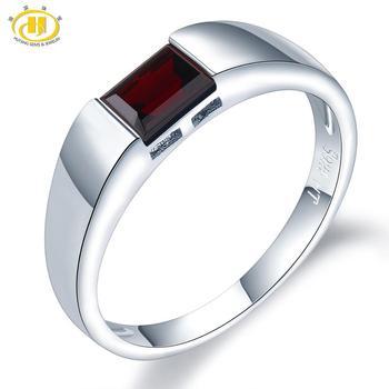 HUTANG Natural Gemstone Women's Men's Ring, 0.68ct Black Garnet 925 Silver Rings Emerald Cut Fine Jewelry for Best Gift