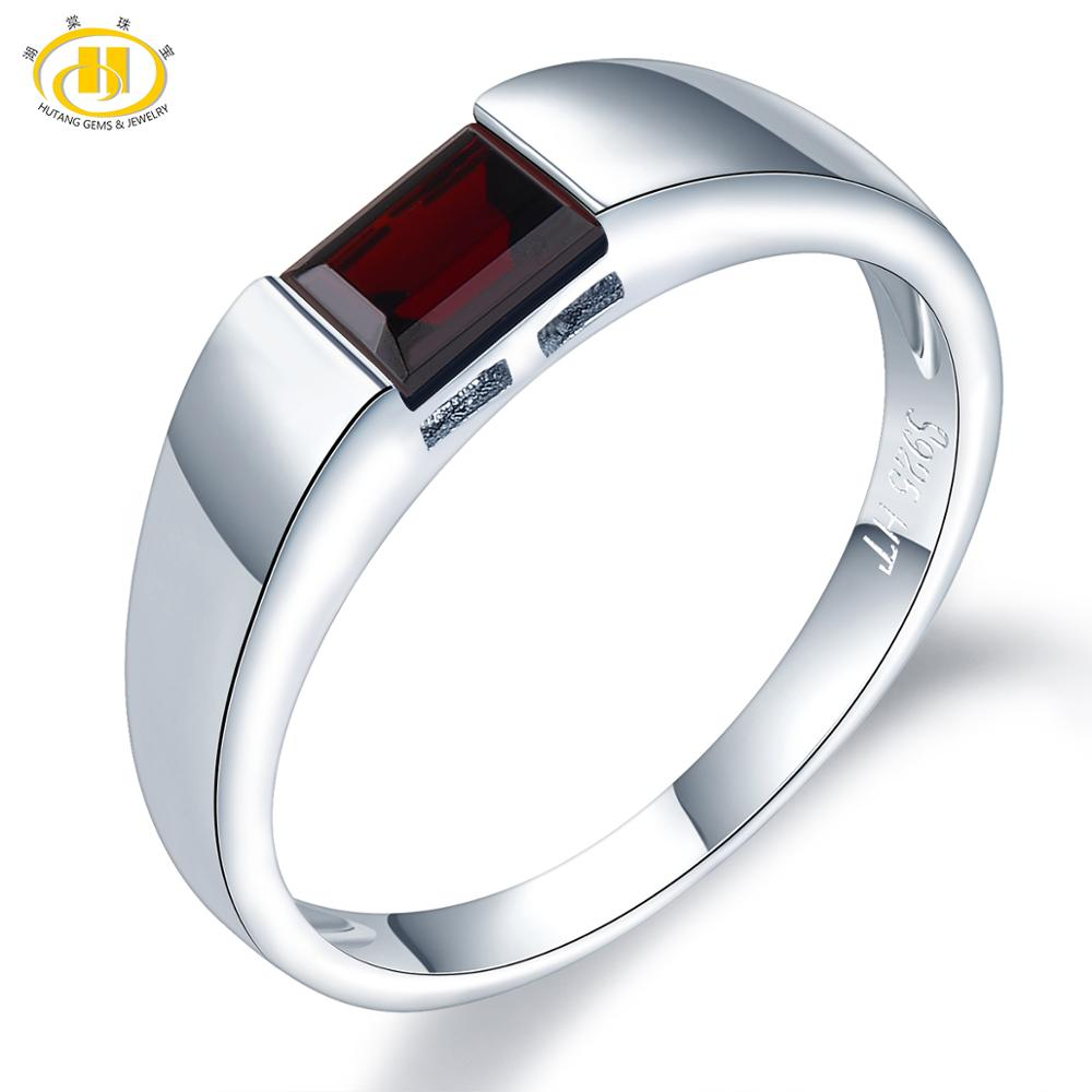HUTANG Natural Gemstone Women's Men's Ring, 0.68ct Black Garnet 925 Silver Rings Emerald Cut Fine Jewelry For Best Gift