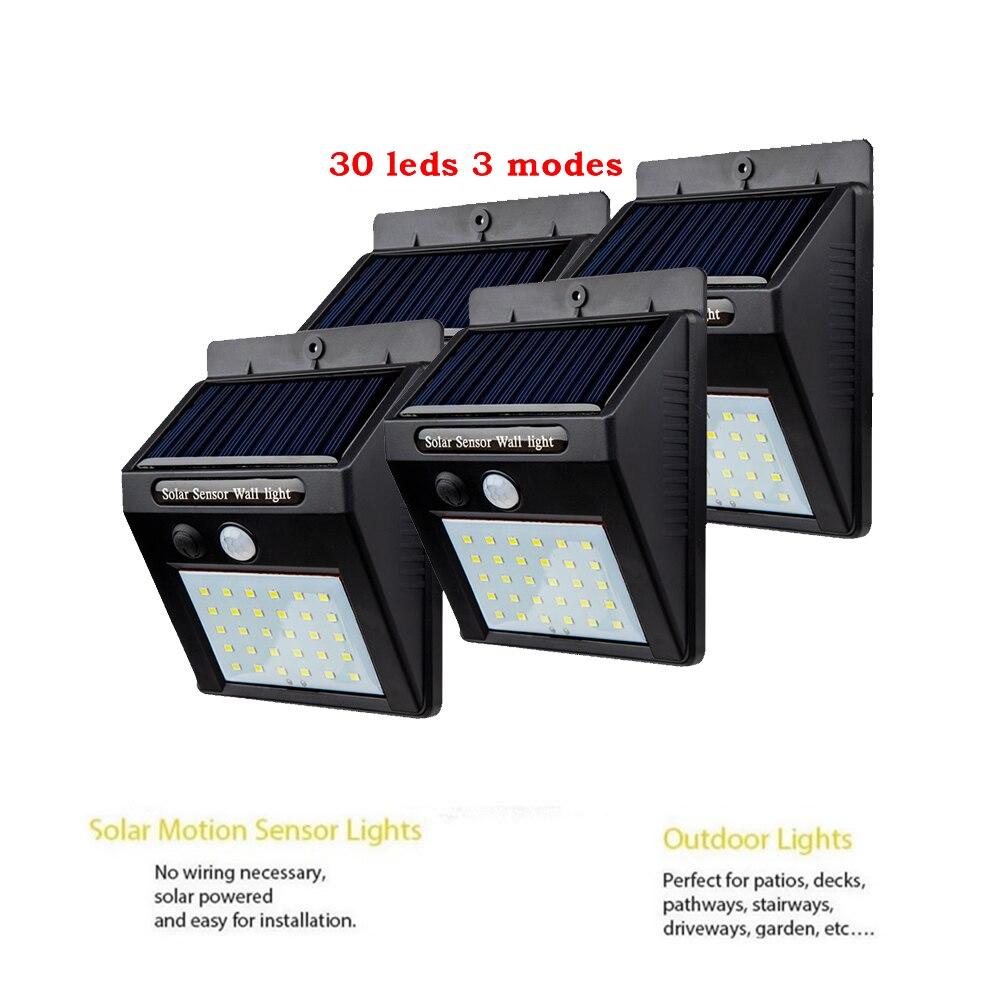 2/4PCS Energia 30 LED Solar Light Outdoor Street Light PIR Motion Sensor For Garden Decoration Lamp Security Spot Lights Luminar