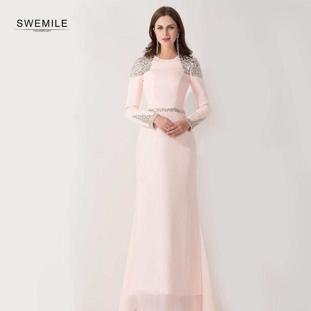 Robe de soirée sirène arabe musulmane à manches longues rose cristaux de perles Robe de soirée caftan saoudien Dubai Robe de soirée Longo