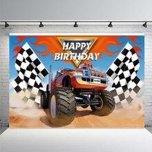 מכירה לוהטת ספורט תמונה רקע מפלצת משאית גדול גלגלי מירוץ רכב תינוק יום הולדת רקע מסיבת Photophone ויניל שיחת וידאו דקור